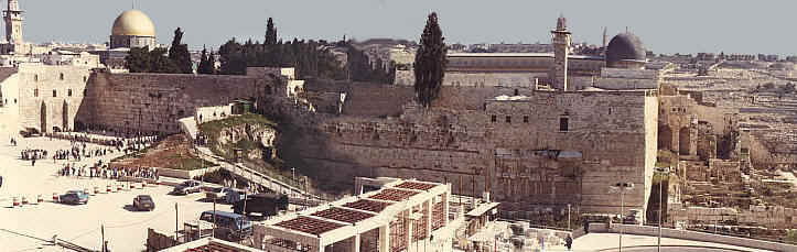 View of the Western Wall, Temple Mount and Mount of Olives in Jerusalem, Israel's capital-2 Chr 6:5,6; Ecc 1:1,12: 1Ki 11:36.